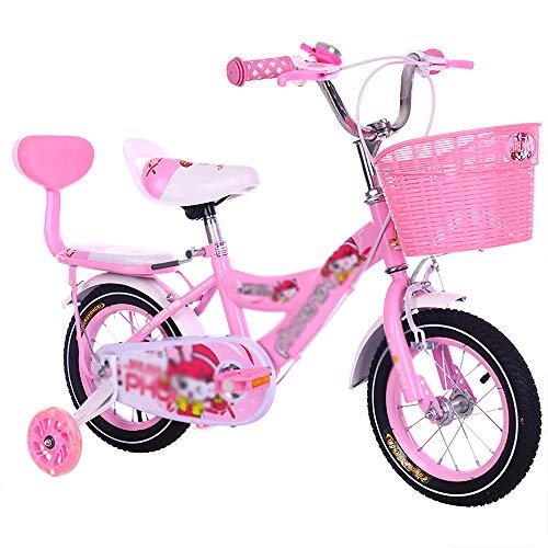 Bicicleta para Niña Bicicleta Deportiva para Niños con Estabilizadores Y Canasta Bicicletas para Montar Estabilizadores Ligeros Desmontables con Asiento Ajustable Scooter