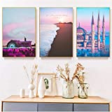 Abstract Seacape Painting Home Decor Canvas Painting Wall Europe Building Picture Landscape Painting Decor Prints for Bedroom 30x40cmx3 (no frame)