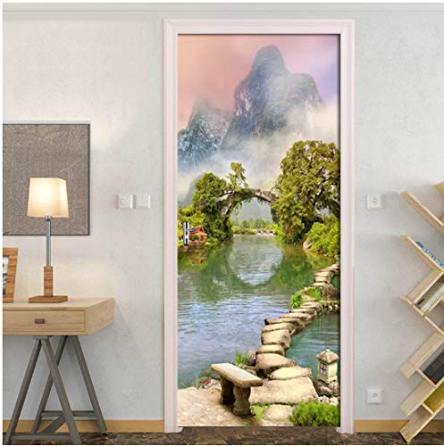 Door Sticke Wall paper Door decal,Garden Lake View Waterproof Self-Adhesive Door Sticker Wallpaper For Living Room Bedroom Door Wall Decals Mural Wall Sticker