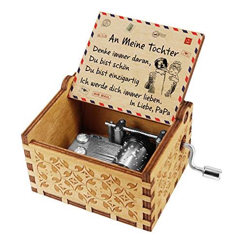Kenon Gravierte Holzspieluhren Handgefertigte hölzerne Spieluhren und Lieder mit Edelstahl von Music Chests Custom Vintage Handkurbel Spieluhr Weihnachtsgeburtstagsgeschenk (Für Tochter von Papa)
