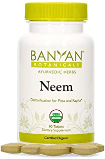 Banyan Botanicals Neem Tablets – Organic Neem Supplement – Azadirachta Indica – for Skin & Healthy Hair, Blood, Lymph, Liv...