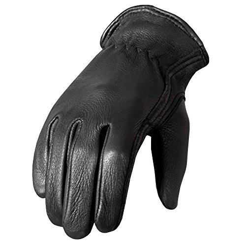 Hot Leathers GVD1002 Classic Deerskin Unlined Driving Gloves (Black, Large)