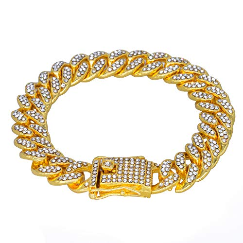 MCSAYS Hip Hop Men Jewelry Gold Fashion Full Diamond Cuban Chain Men's Bracelet - Yellow