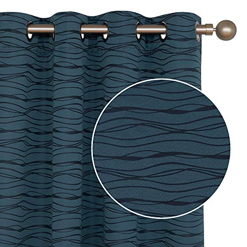 Deconovo Stripe Jacquard Total Blackout Panels with Triple-Pass White Coating Back Layer Thermal Insulated Curtains for Bedroom Orion Blue One Pair 52 X 63 Inch