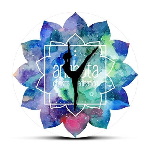 yage Chakra Yoga Needles Reloj de Pared Impreso Meditación Acuarela Pintura Mandala Patrón Arte Reloj Colgante de Pared