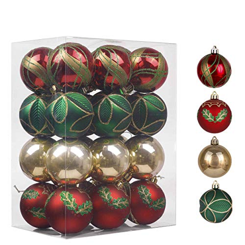 Valery Madelyn 24ct 60mm Country Road Red Green and Gold Shatterproof Christmas Ball Ornaments Decoration,Themed with Tree Skirt(Not Included)