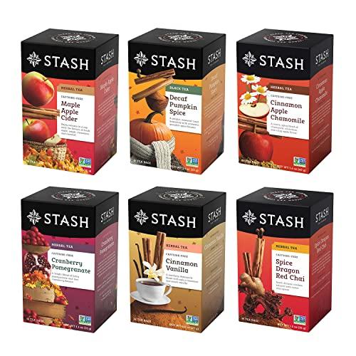 Stash Tea Fall for Autumn 6 Flavor Tea Sampler, 6 Boxes With 20 Tea Bags Each (120 Tea Bags Total)