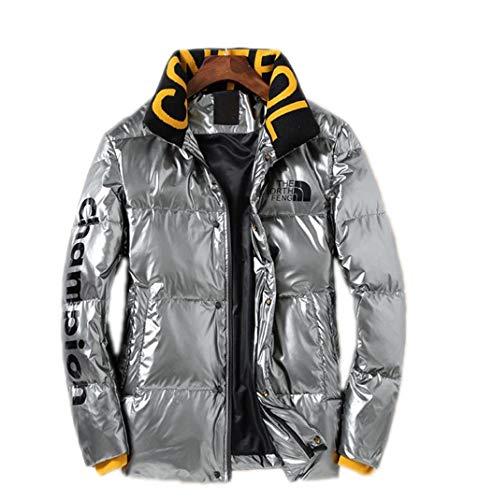 PFSYR Herren Daunenjacke Mode Brief glänzend Winter warme Jacke Mantel Stehkragen Dicke Daunenjacke im Freien (Color : Silver, Size : 2XL)