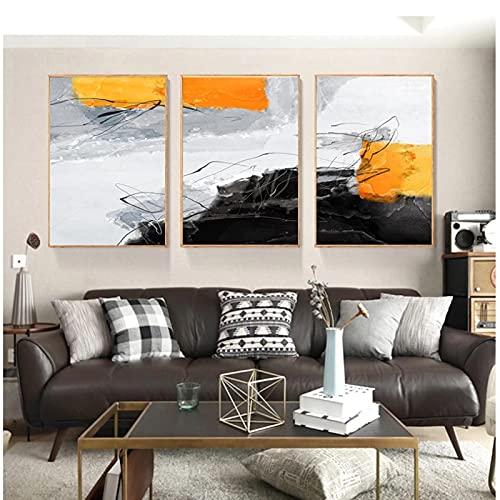 DJFBH-Cuadros decoracion salon modernos 3 piezas 40x60cm Sin marco Acuarela Abstracto Negro...