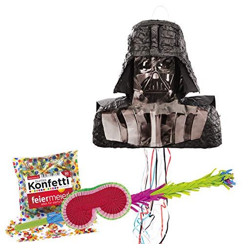 PartyMarty Pinata-Set: Pinata Star Wars Darth Vader, Schläger + Maske + Konfetti aus Papier bunt, 50g, GmbH® für den Kindergeburtstag, Kinder-Feiern, Geburtstag, Hochzeitsspiel Starwars Fan
