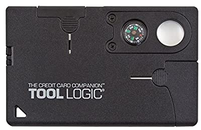 "Tool Logic Credit Card Companion with Lens/Compass CC1SB - 9 Tools, Black, 2"" Blade by Tool Logic"