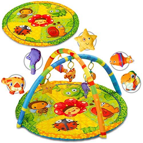 KIDWELL TABI Interaktive Baby-Matte   Erlebnisdecke 80 cm lang x 50 cm hoch   Baby Krabbeldecke mit weichen Spielbogen   Spieldecke für Spiel&Spaß   ab Geburt