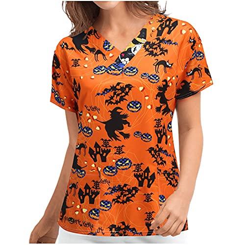 Tops for Women Long Sleeve Blouse Halloween Short Sleeve V-Neck Pumpkin Pattern Nursing Uniform T-Shirt Tunic Pullover (02 Black, S)