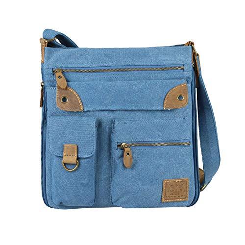 OBC Damen Herren Canvas Tasche Crossover Ledertasche Schultertasche Umhängetasche Segeltuch Crossbody Beuteltasche Handtasche Freizeit Reise (Blau 30x31x10 cm)