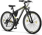 Licorne Bike Bicicleta de montaña prémium para niños, niñas, hombres y mujeres, cambio Shimano de 21 velocidades, para hombre, Effect, Niñas, negro/lima (freno V)., 29 Pulgadas