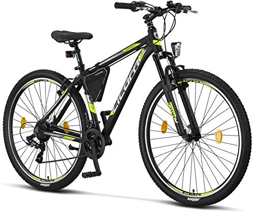 Licorne Bike Effect Premium Mountainbike in 29 Zoll Aluminium, Fahrrad für Jungen, Mädchen, Herren und Damen - 21 Gang-Schaltung - Herrenrad - Schwarz/Lime (V-Bremse)