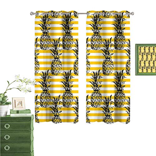 Price comparison product image oobon Bedroom Room Perforated Grommet Curtain,  Blackout Curtains for Kids,  Into The Woods Idyllic Forest Greenland Dreamy Mystic Fresh Tropical View,  Emerald Green,  63×72 inch