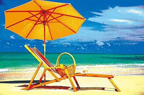 Digitale Schilderij door Getallen Kits Zon Paraplu Strandstoel Zeedijk Landschap Olieverfschilderij op Canvas Muurdecoratie voor Home Gift voor Nieuwe Accommodatie Bruiloft voor Volwassenen Kinderen Beginners