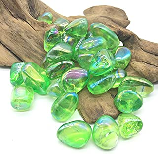 MOSOAO Rainbow Green Angel Aura Quartz Crystals Gravel Titanium Tumble Stones for Decoration
