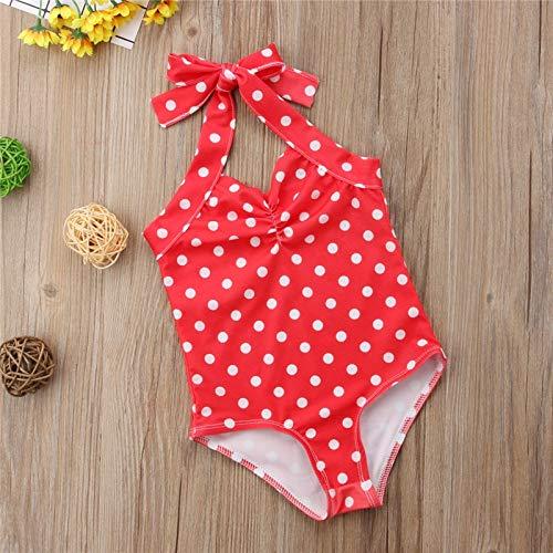 xiaofeng214 Bebé recién Nacido Que Cabestro Lunar de una Sola Pieza del Traje de baño de Las Muchachas del Verano del niño del Traje de baño del Bikini Traje de natación Biquini Ropa de Playa