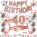 MMTX Palloncini Compleanno 40 Anni Oro Rosa Compleanno Decorazioni per Feste Donna Addobbi Compleanno Bomboniere 40 Anni Ragazza con Tovaglia Konfetti Palloncini in Lattice Stampati