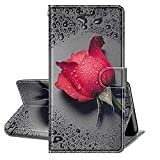 QC-EMART - Funda con tapa para Samsung Galaxy J3 2016, diseño de rosa roja, piel sintética, a prueba de golpes, ranura para tarjeta, función atril, cierre magnético, funda folio para Galaxy J3 2016
