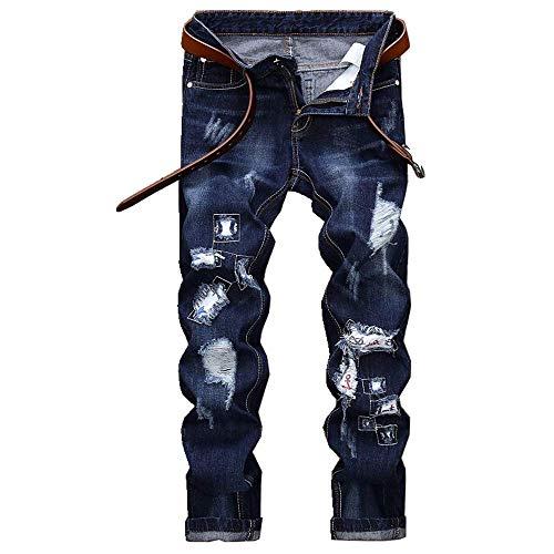 NOBRAND Pantalones vaqueros bordados para hombre con corte de tubo recto y agujero