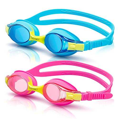 vetoky Kids Swim Goggles, Pack of 2 Anti Fog Swimming Goggles UV Protection Clear No Leaking for Child and Youth Ages 3-12 Blue+Pink