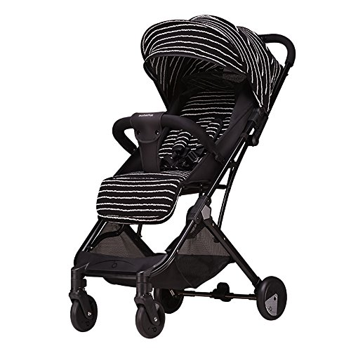 Great Features Of LXZXZ - 4-Wheel Stroller Foldable Stroller Seated Reclining Portable Baby Stroller...