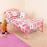 CHRISTOW Pink Toddler Metal Bed Frame Kids Bedroom Furniture Childrens Bedframe Hearts