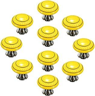 CSKB Yellow 10PCS Retro Simple Style Round Ceramic Door Knob Handle Pull Knobs Door Cupboard Locker for Drawer,Cabinet,Chest, Bin, Dresser, Bathroom ,Cupboard, Etc with Screws
