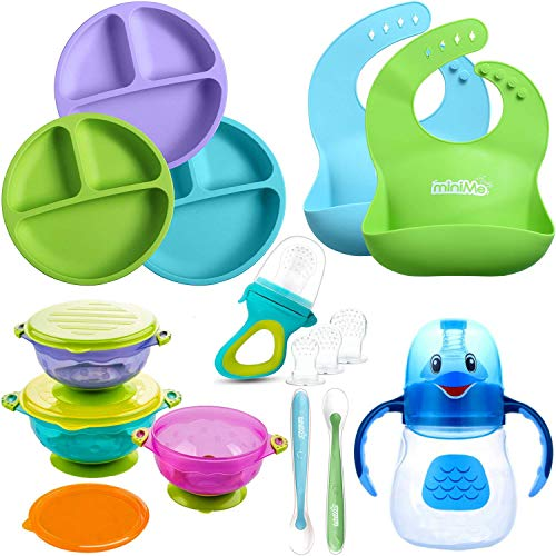 Lovely Minime Baby Feeding Set, Toddler Plates, Suction Bowls, Sippy Cup, Silicone Bibs, Soft Spoons