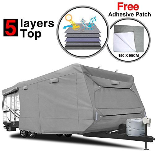 RVMasking Heavy Duty 5 Layers Travel Trailer RV Cover, Fits 22'1' - 24' RVs - Breathable Waterproof Anti-UV Ripstop Camper Cover With 12 PCS Windproof Buckles & Adhesive Repair Patch (25.4'&59')