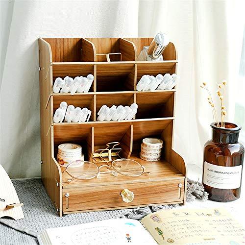 GFDE Schreibtisch Aufbewahrungsbox Bleistifthalter große Kapazitäts-Multi-Funktions-DIY-Feder-Halter-Kasten-Feder-Organisator for Schreibtisch Pen Hohe Kapazität (Color : Brown, Size : 21x15x25.5cm)