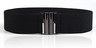 Womens Black Vintage Plus Elastic Stretchy Waist Cinch Trimmer Belt