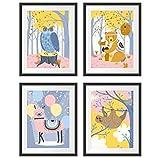 Poster Kinderzimmer 4er Set A4 - Kinderzimmer Wanddeko -