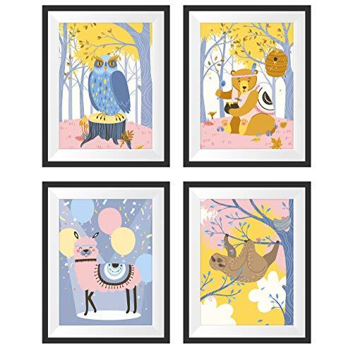 Poster Kinderzimmer 4er Set A4 - Kinderzimmer Wanddeko - Bilder fürs Babyzimmer- Tier Poster für Kinder - Lustige und Bunte Bilder - Babygeschenke für Jungen und Mädchen