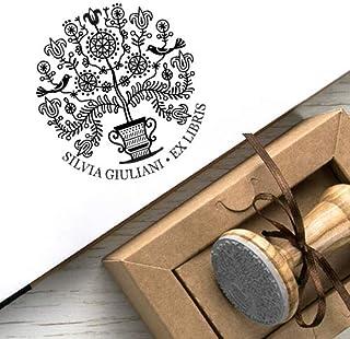 Timbri Personalizzati, Ex libris Personalizzabile, Timbro Albero della Vita, Regalo Personalizzato Albero Giglio Fiori Ucc...