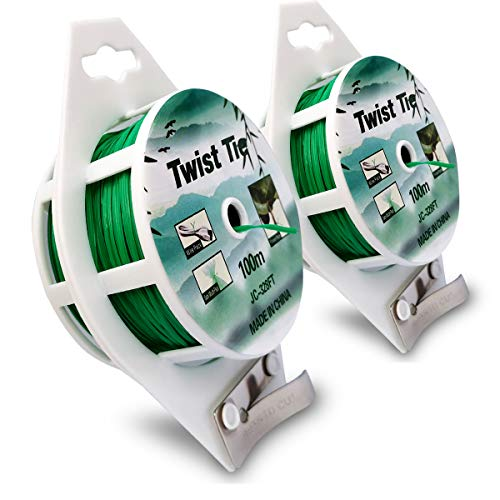 ronglove 2 Reels 328 Feet (100m) Twist Tie, Green Coated Garden Plant Ties with Cutter for Gardening Home Office, Multi-Function Green Plastic Coated Wire