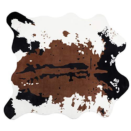 Famibay Alfombra de piel de vaca grande con estampado de vaca, alfombra de piel sintética, suave, mullida, alfombra de suelo para salón, dormitorio, 140 x 160 cm