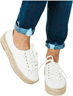 LAICIGO Women's Flatform Espadrilles Lace up Low Cut Animal Print Slip-on Fashion Sneakers