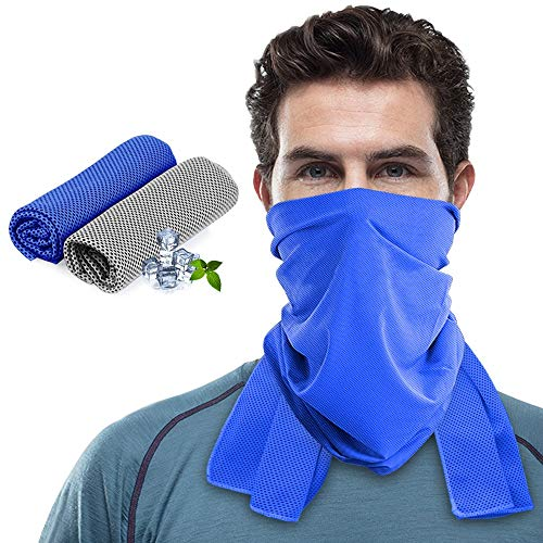 Idefair Cooling Towel,Ice Cold Towel for Men Women Evaporative Chilly Towel for Yoga Running Fitness Gym Workout Camping Work & More Activities 2 Pack (Gray&Blue)