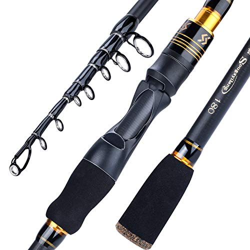 Sougayilang Fishing Rod, Carbon Fiber Telescopic Fishing Pole, Spinning & Casting Rod Designed for Bass, for Fresh & Saltwater-Spinning 6.9FT Gold
