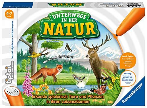 Ravensburger tiptoi Spiel 00043 Unterwegs in der Natur - Heimische Natur und Tiere entdecken, Lernspiel für Kinder ab 4 Jahren, für 1-4 Spieler