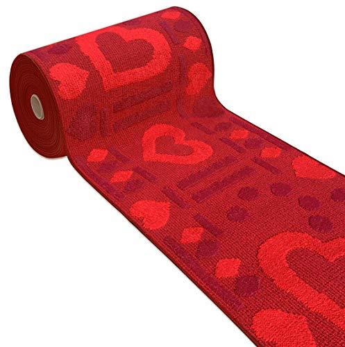 tappeto cucina cuori emmevi Tappeto Cucina Antiscivolo Cuori 3D Lavabile Moderno Varie Misure MOD.Clelia Dis.A 57X270 Bordeaux
