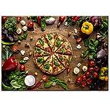 SDPYY Liebe Pizza Wandkunst Leinwanddrucke Realistische Organische Gemüse Leinwand Gemälde Für Küche Wand Decor-50x70cmx1 stücke kein Rahmen