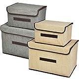 TIMESETL 4 PCS Cajas de Almacenamiento con Tapa y Asa, Cajas Almacenaje Plegables Contenedores de Almacenamiento no Tejido Cajas de Ordenación para Armarios, Ropa, Libros, Cosméticos, Juguetes, etc.