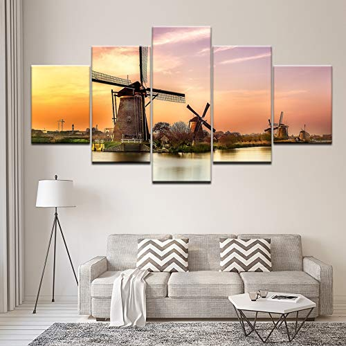 Canvas schilderij Hollandse fabriek Kinderdijk molen 5 stuks kunst aan de muur schilderij modulair behang poster print woondecoratie
