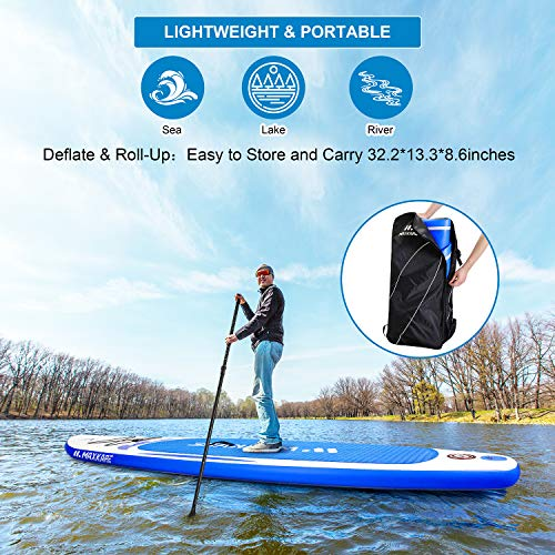 """Product Image 9: MaxKare Stand Up Paddle Board Inflatable SUP W Stand-up Paddle Board Accessories Backpack Paddle Leash Pump Non-Slip Deck ISUP Fishing Yoga Rigid Solid 10'× 30"""" ×6"""" Inches Thick Adult & Youth & Kid"""