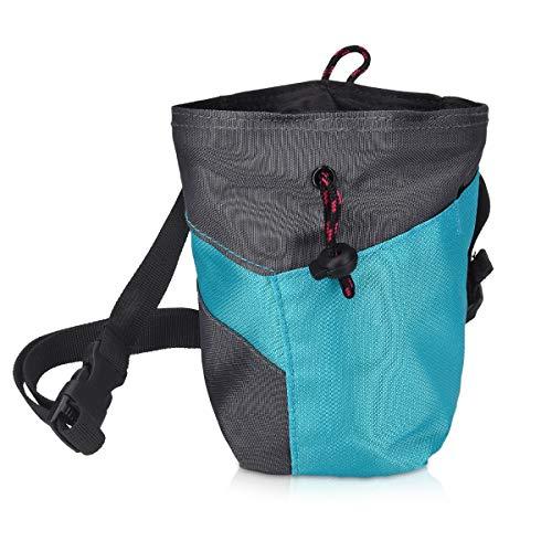 Navaris Chalk Bag zum Bouldern Klettern - Magnesiabeutel mit Taillengurt Bürstenhalter Schlüsselfach - Kreidebeutel für Magnesiumcarbonat Kreide